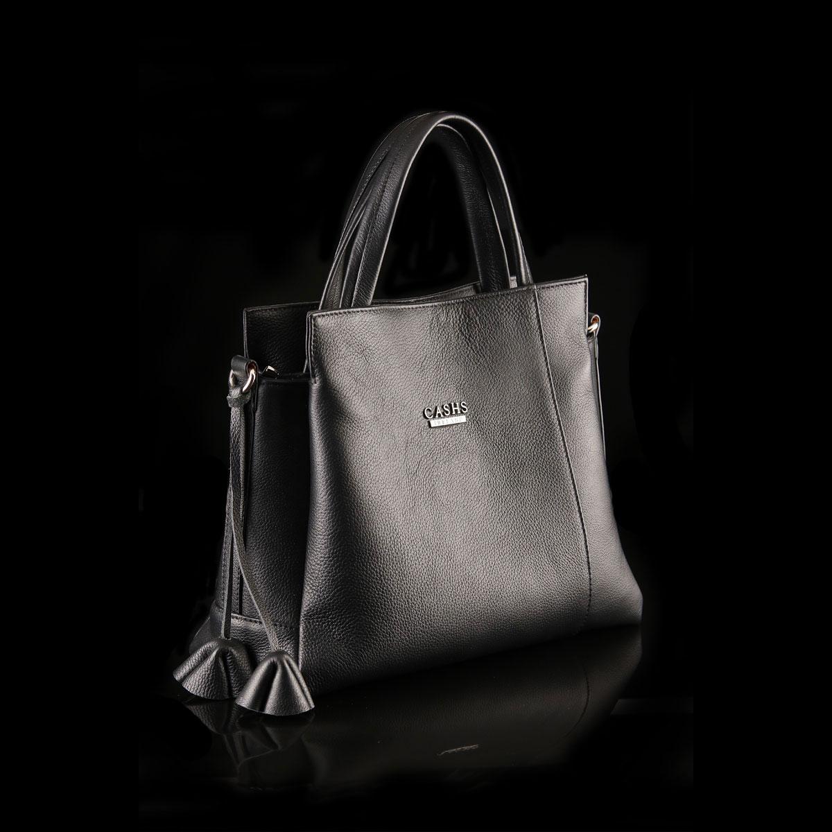 Cashs Ireland, Top Grain Leather Leona Handbag, Black