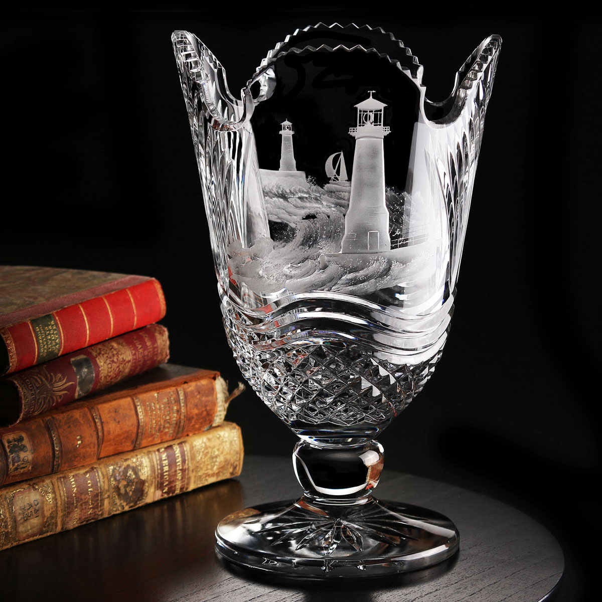 Cashs Ireland, Art Collection Lighthouse Series, By Hook or By Crook Crystal Vase, Limited Edition