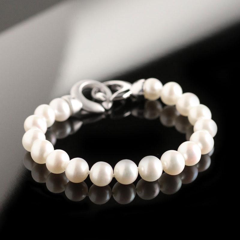 Cashs Ireland, White Luster Pearl Bracelet, Sterling Silver