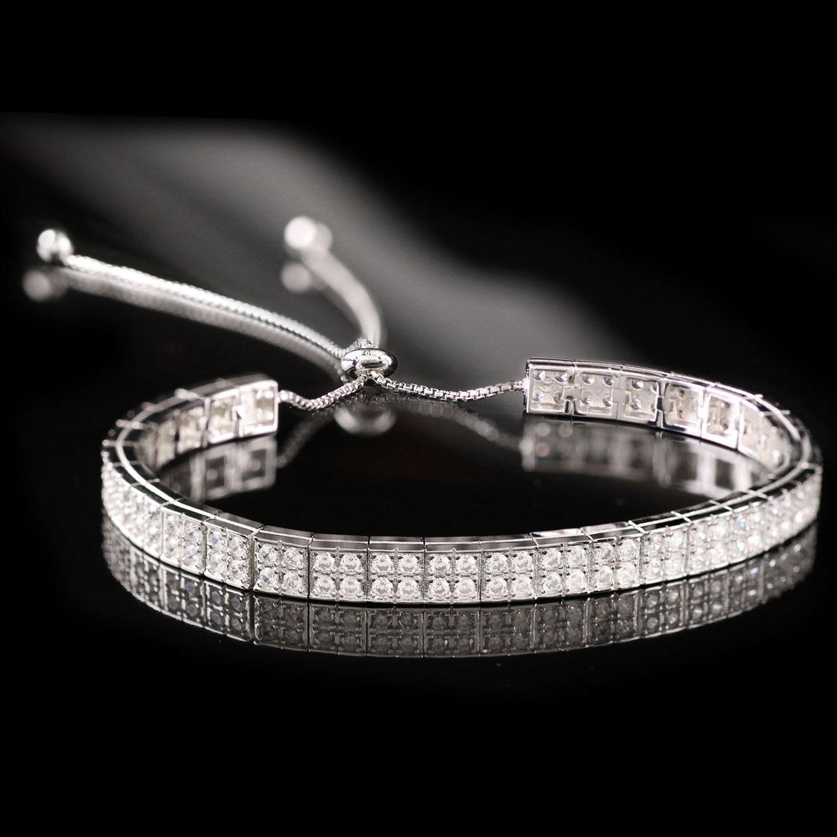 Cashs Ireland, Sterling Silver Crystal Pave Pull Up Adjustable Soft Bracelet