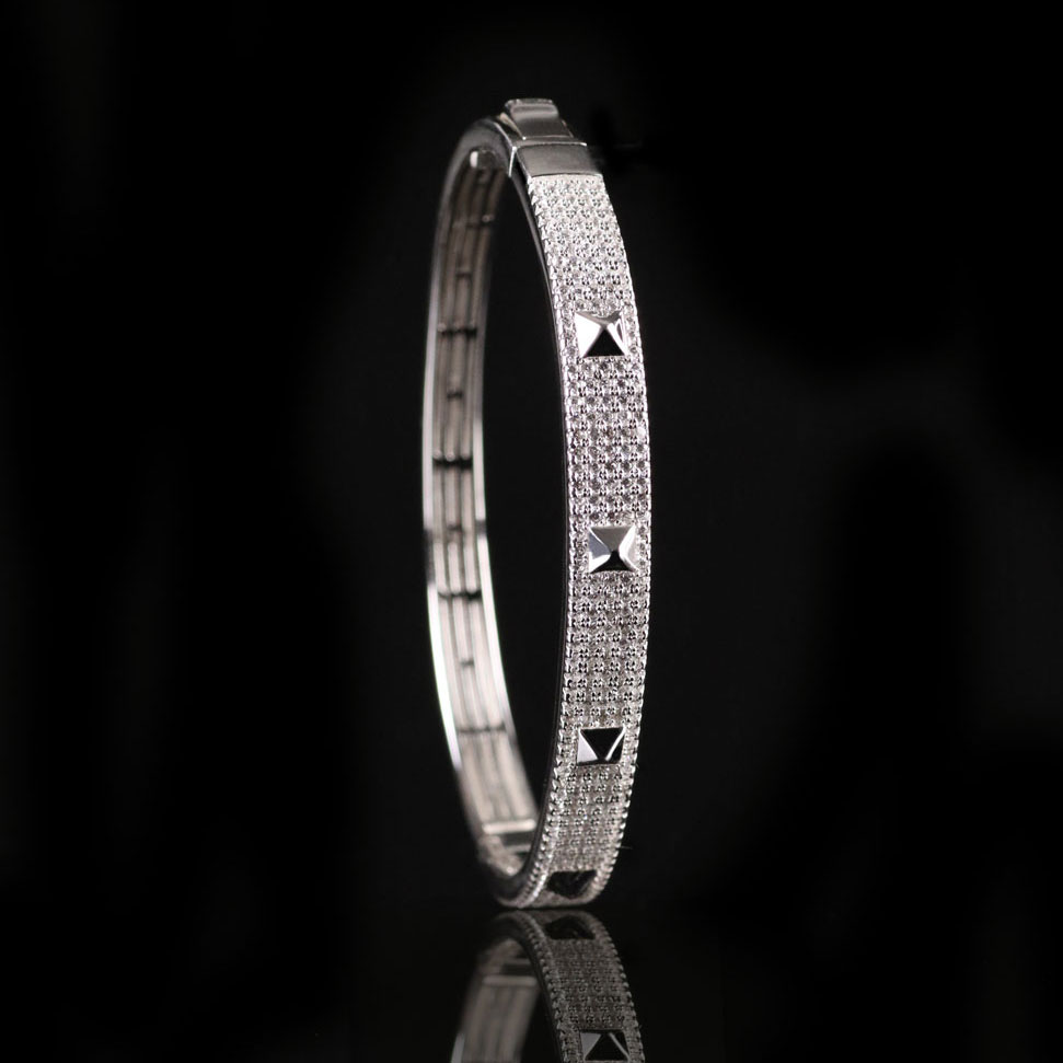 Cashs Ireland, Sterling Silver Crystal Pave Rock