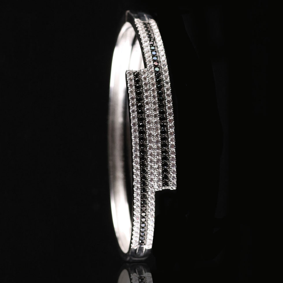 Cashs Ireland, Sterling Silver Jet Black and Crystal Pave Hinged Bracelet