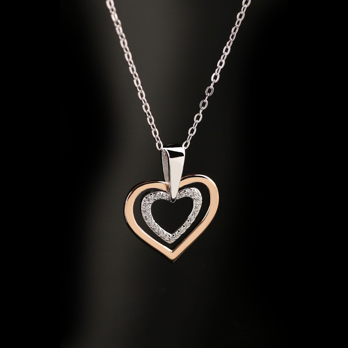 Cashs Ireland, Sterling Silver and Gold Heart in Heart Pendant Necklace