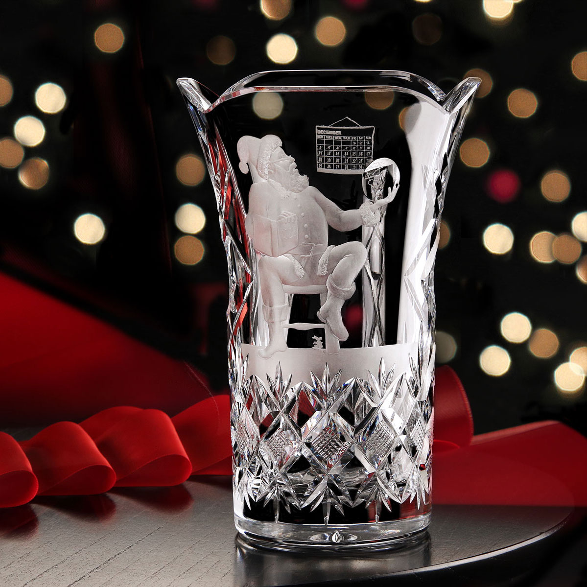 Cashs Ireland, Crystal Art Collection, Santa With Globe Vase, Limited Edition