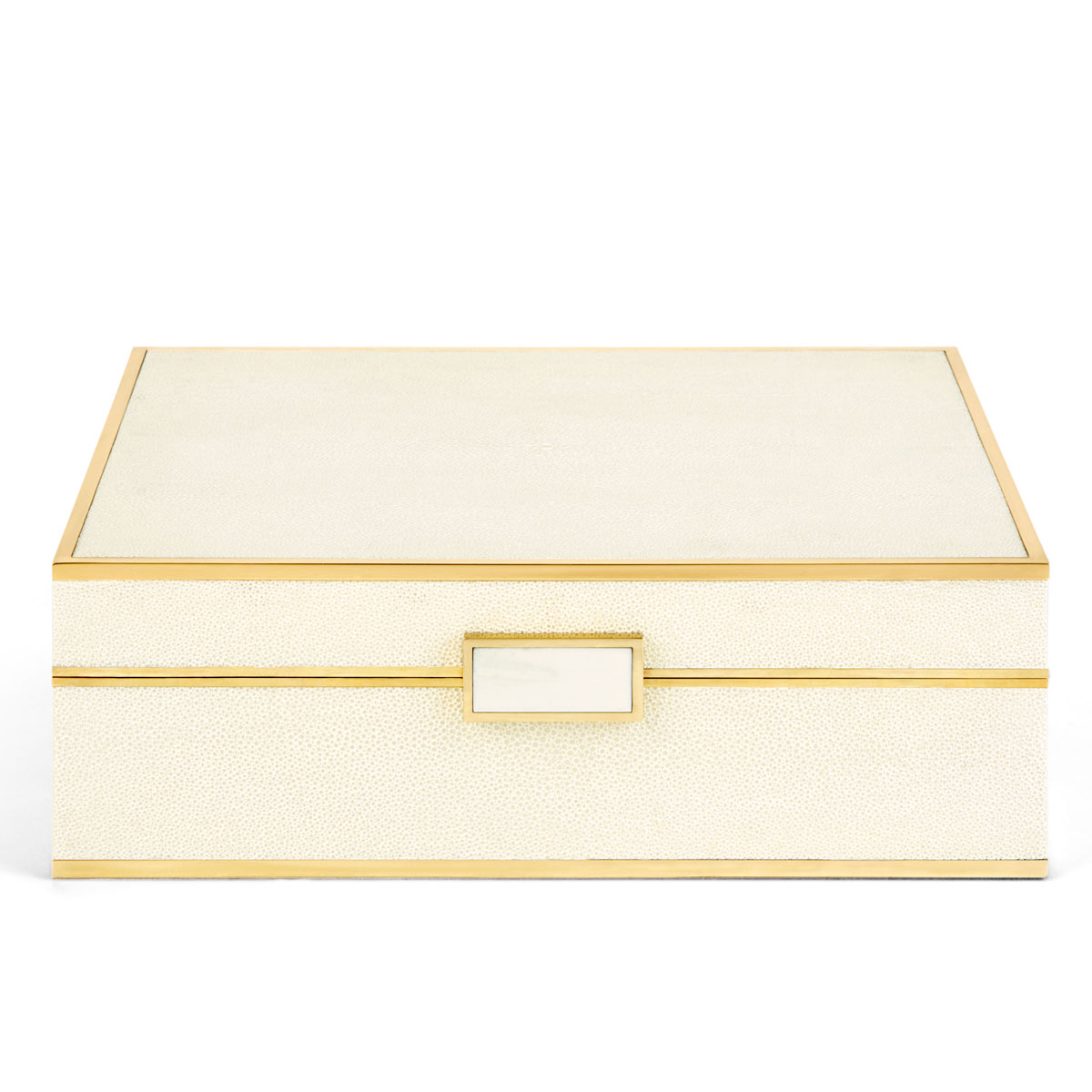 Aerin Classic Shagreen Large Jewelry Box, Cream