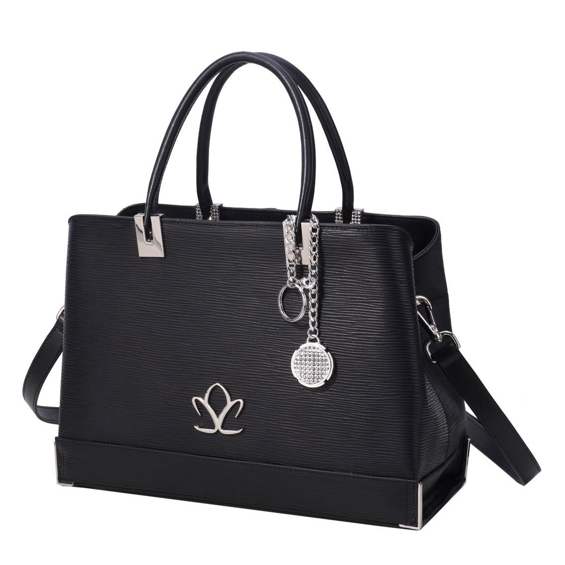 Cashs Ireland, Top Grain Leather Aileen Black Handbag with Atlantic Way Crystal Charm