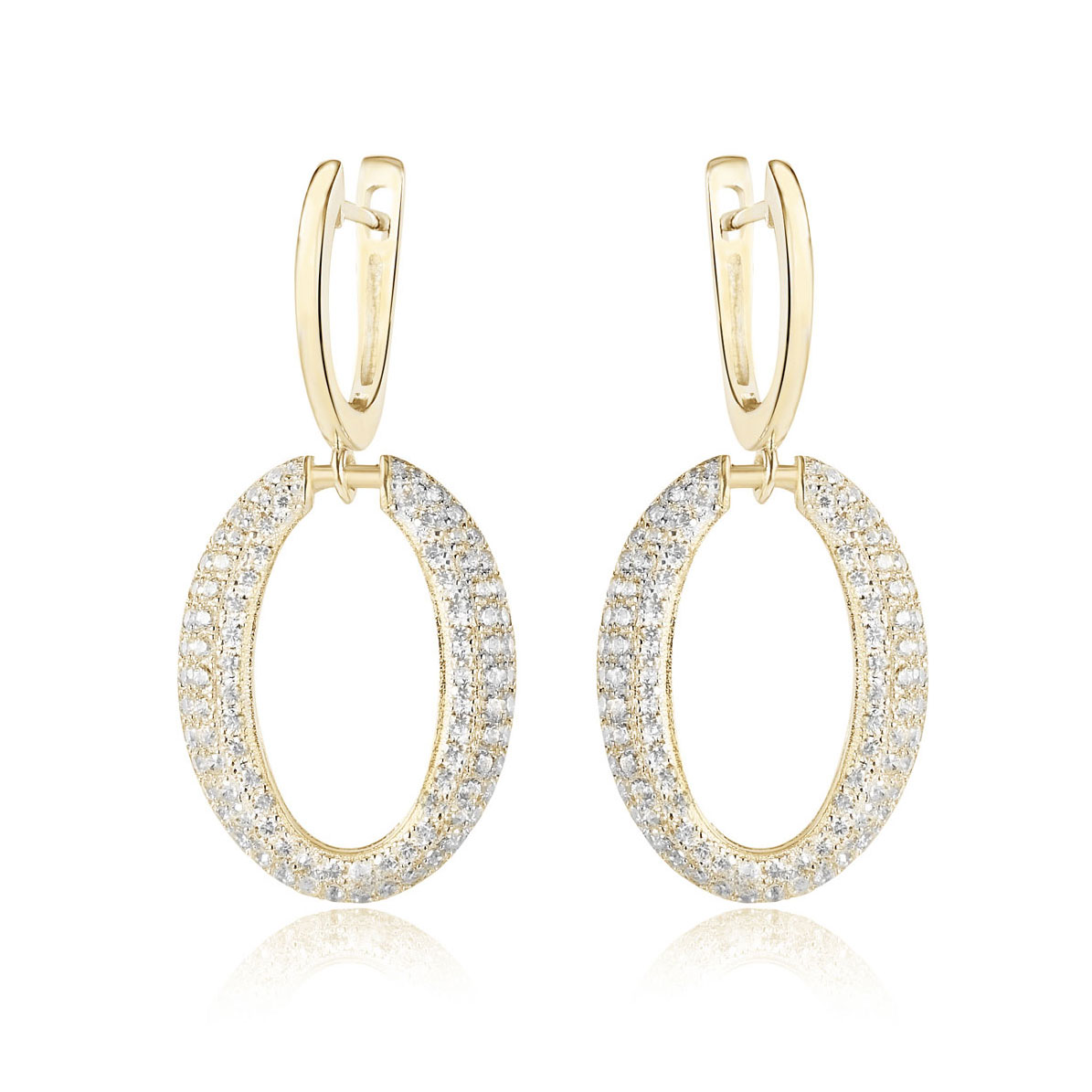 Cashs Ireland, Crystal and 18k Gold Cocktail Pierced Earrings, Pair