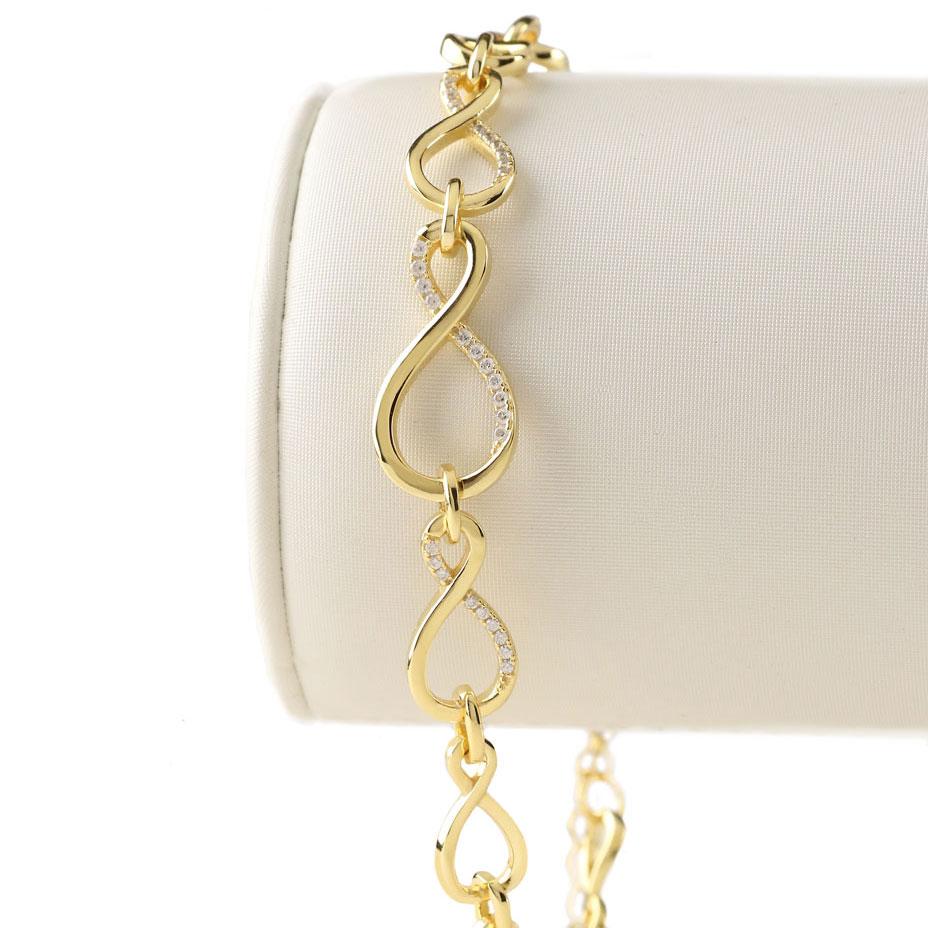 Cashs Ireland, Infinity 18k Gold and Crystal Bracelet