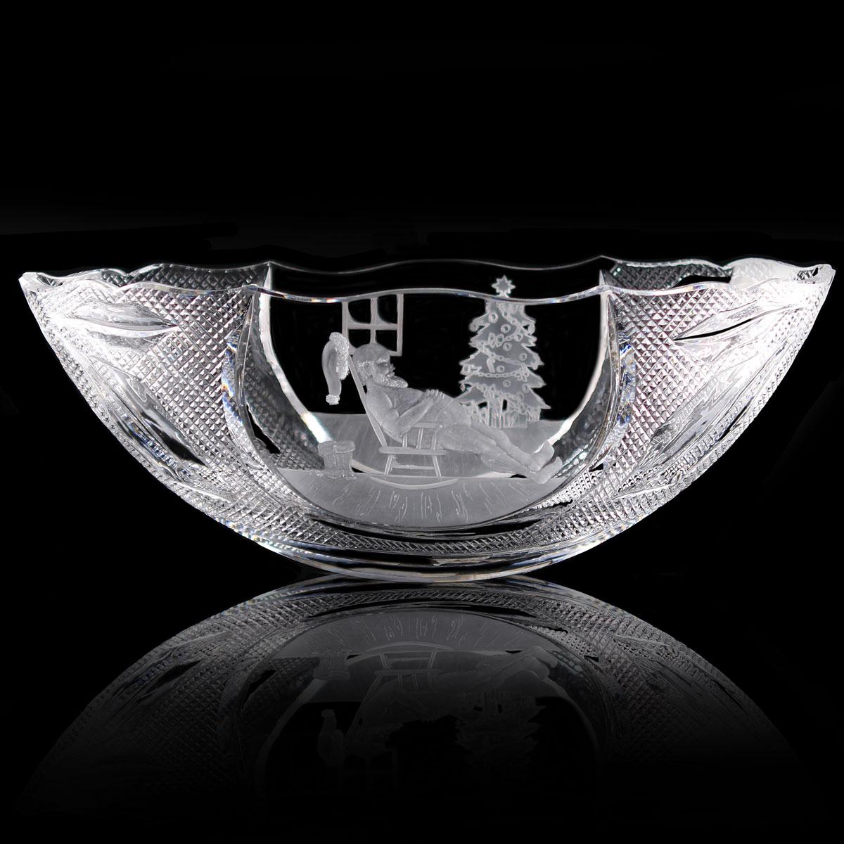 "Cashs Ireland Crystal Art Collection, Rocking Santa 14"" Bowl"