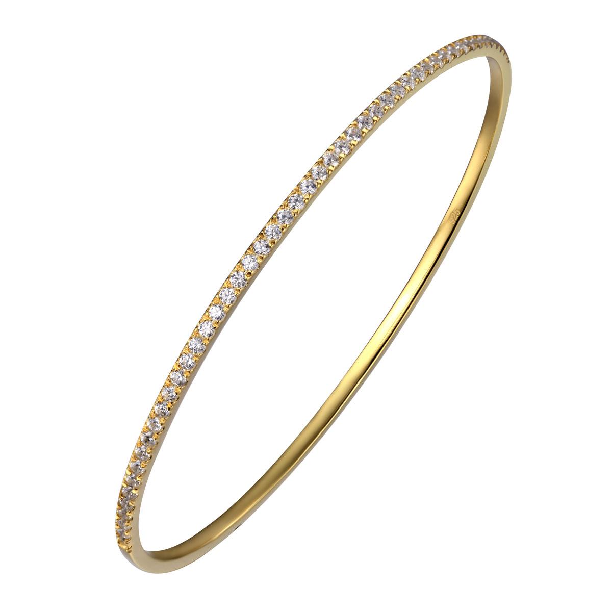 Cashs Ireland, Bond 18k Gold and Crystal Bangle Bracelet