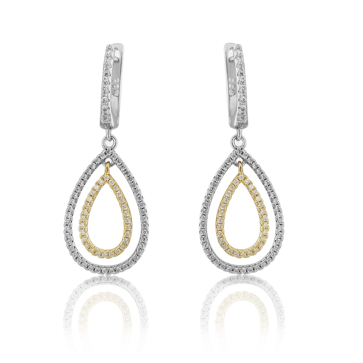 Cashs Ireland, Teardrop Sterling Silver and Gold Pave Pierced Earrings