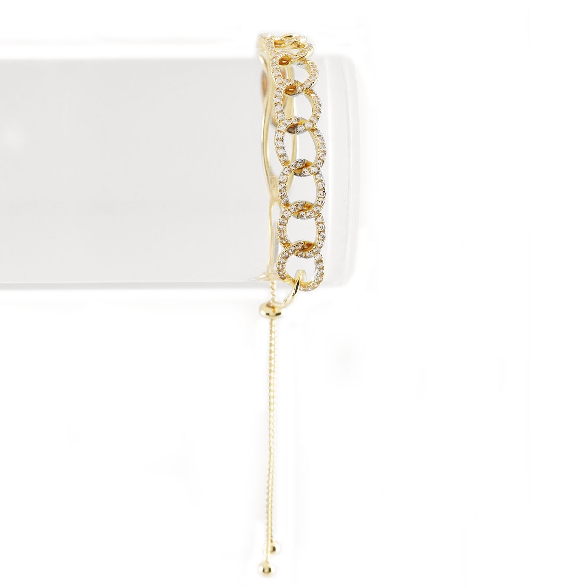 Cashs Ireland, Gold and Pave Link Pull Up Bracelet