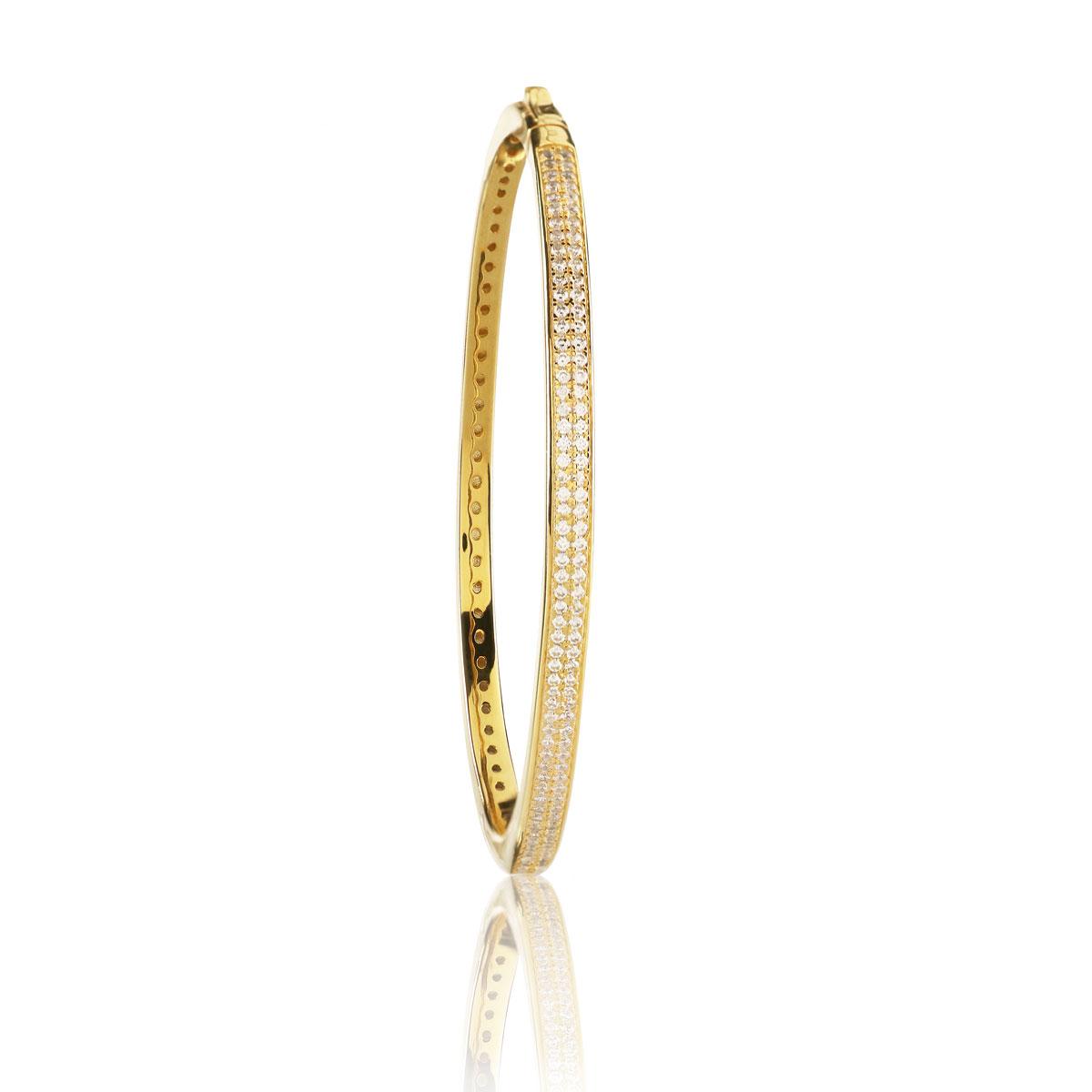 Cashs Ireland, Celeste Gold Double Pave Hinged Bracelet