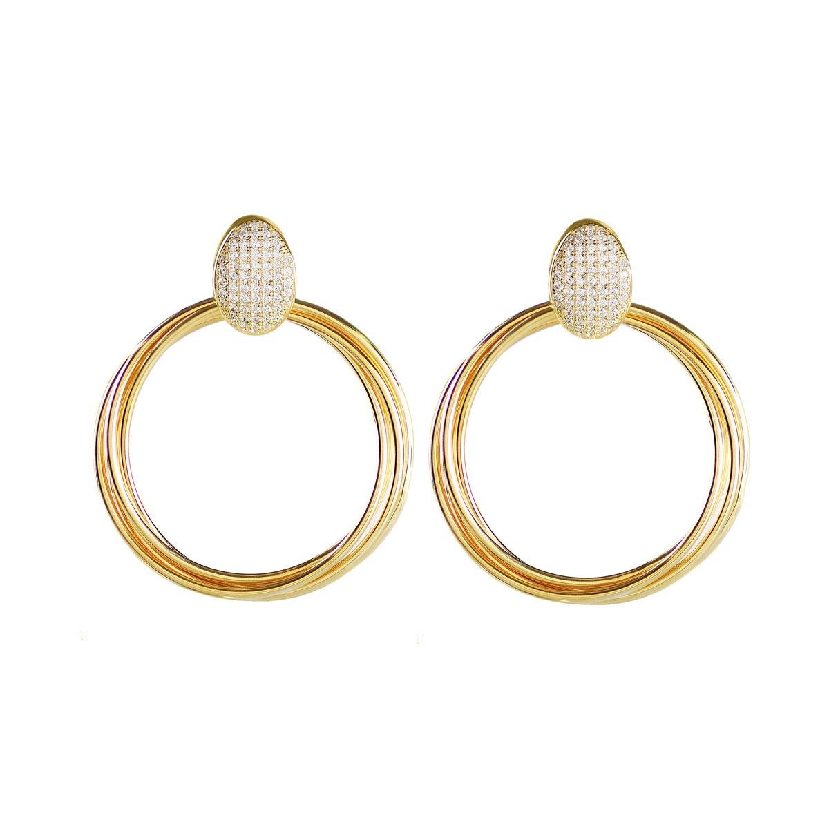 Cashs Ireland, Twist 18k Gold and Crystal Hoop Pierced Earrings
