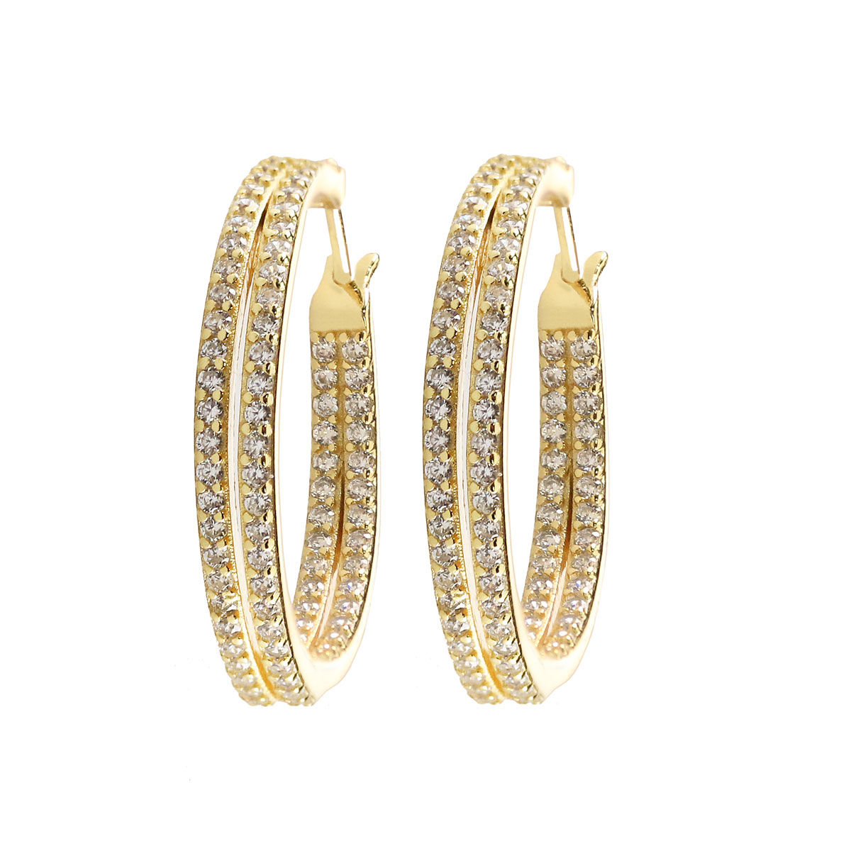 Cashs Ireland, Elyse Crystal and Gold Pave Double Hoop Pierced Earrings