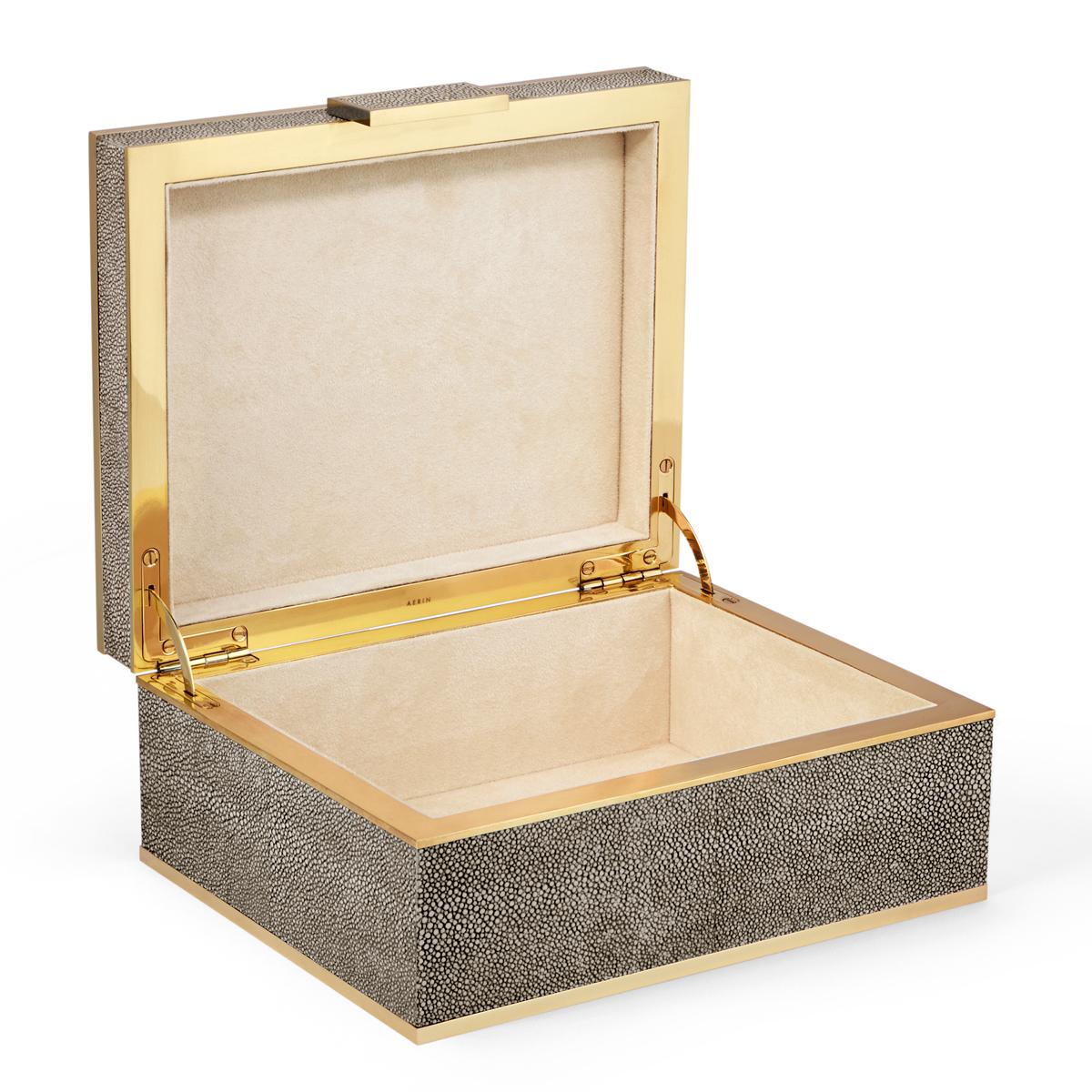 Aerin Classic Shagreen Small Jewelry Box, Chocolate