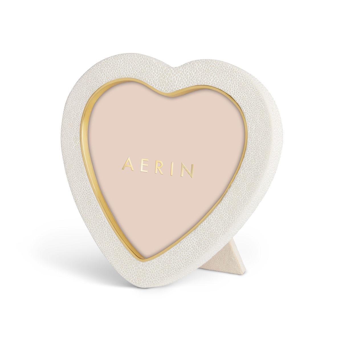 Aerin Shagreen Heart Frame, Cream