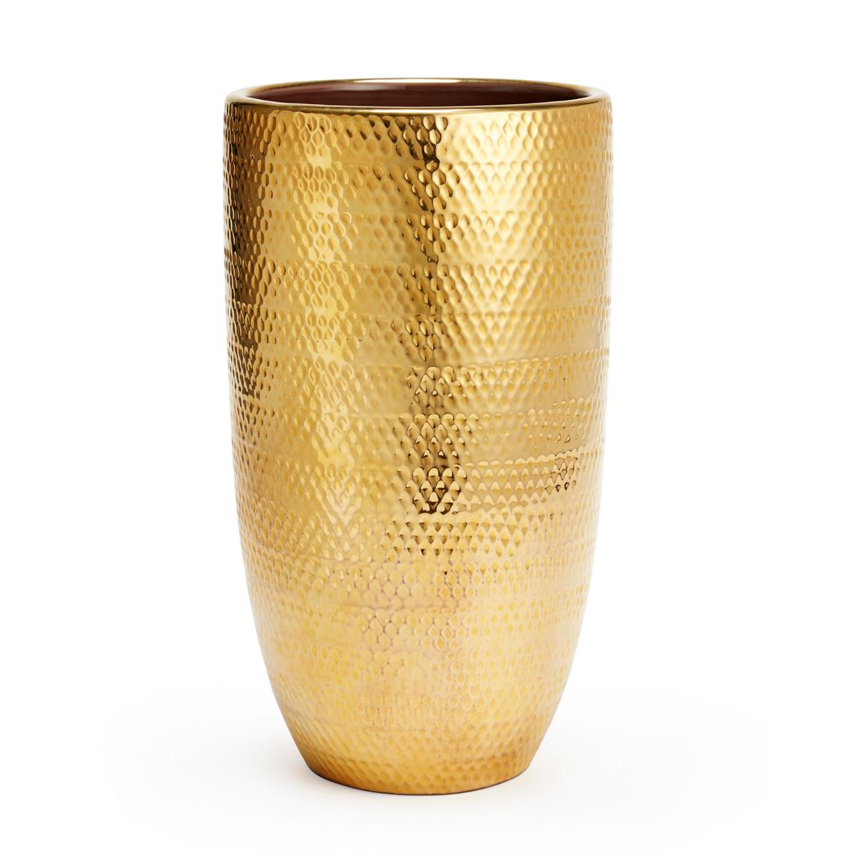 """Aerin Textured Gold 12"""" Vase"""