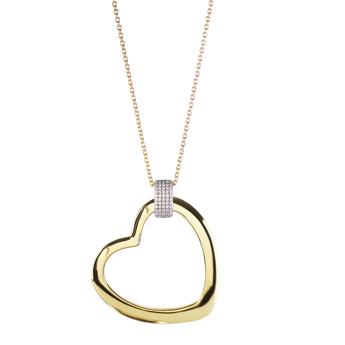 Cashs Ireland, Donna 18k Gold and Crystal Heart Pendant Necklace