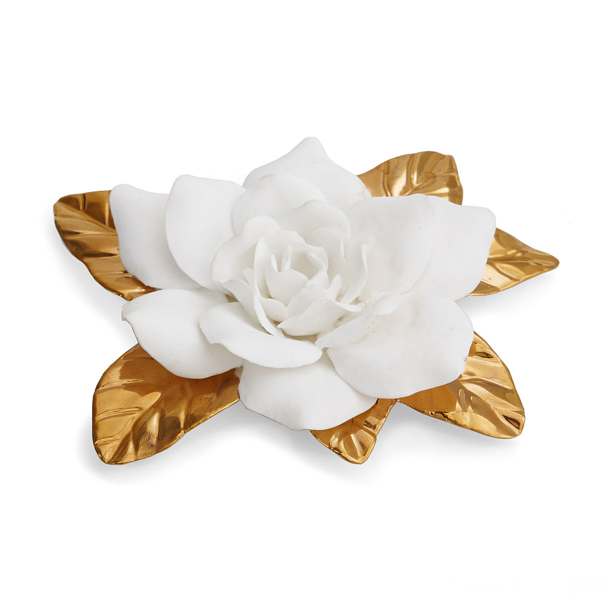 Aerin Porcelain Gilded Gardenia Flower Sculpture
