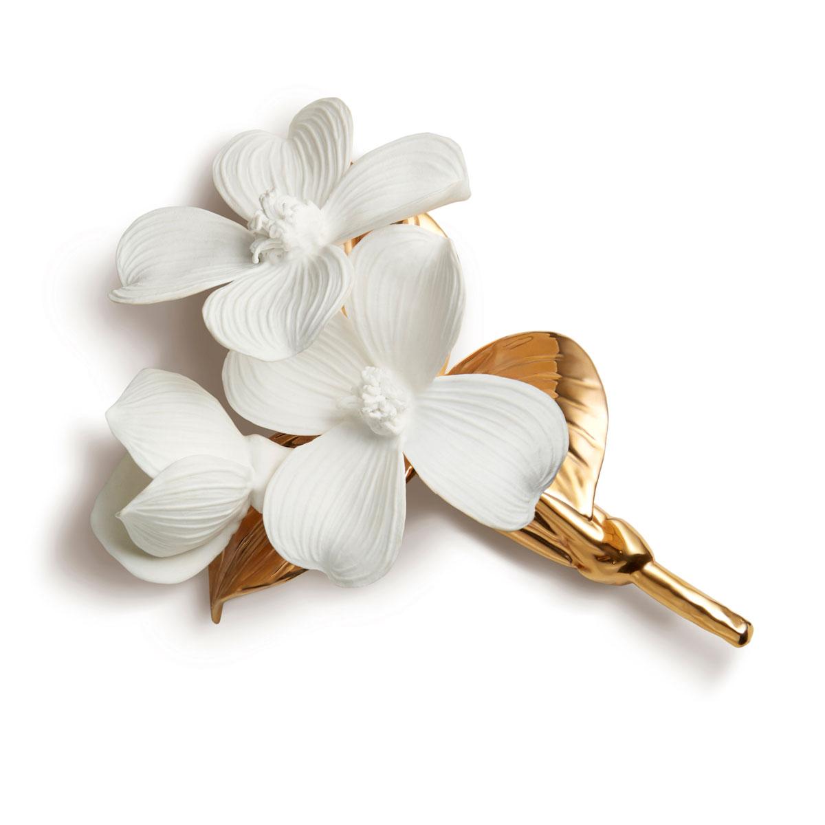 Aerin Porcelain Gilded Dogwood Flower Sculpture