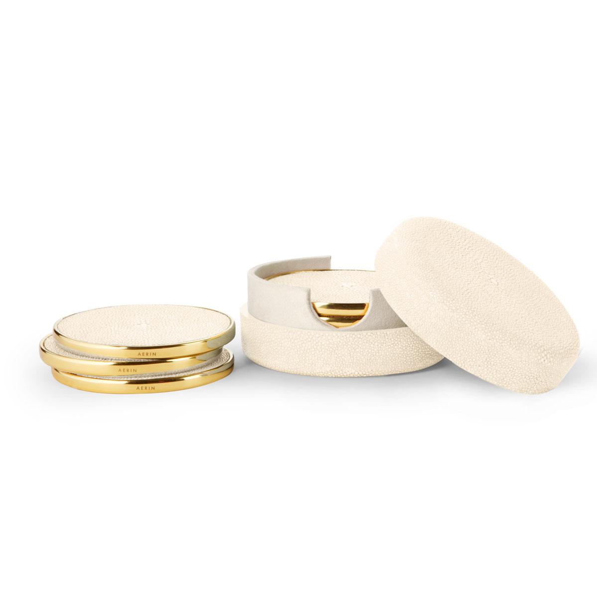 Aerin Shagreen Coasters, Cream Set of Four
