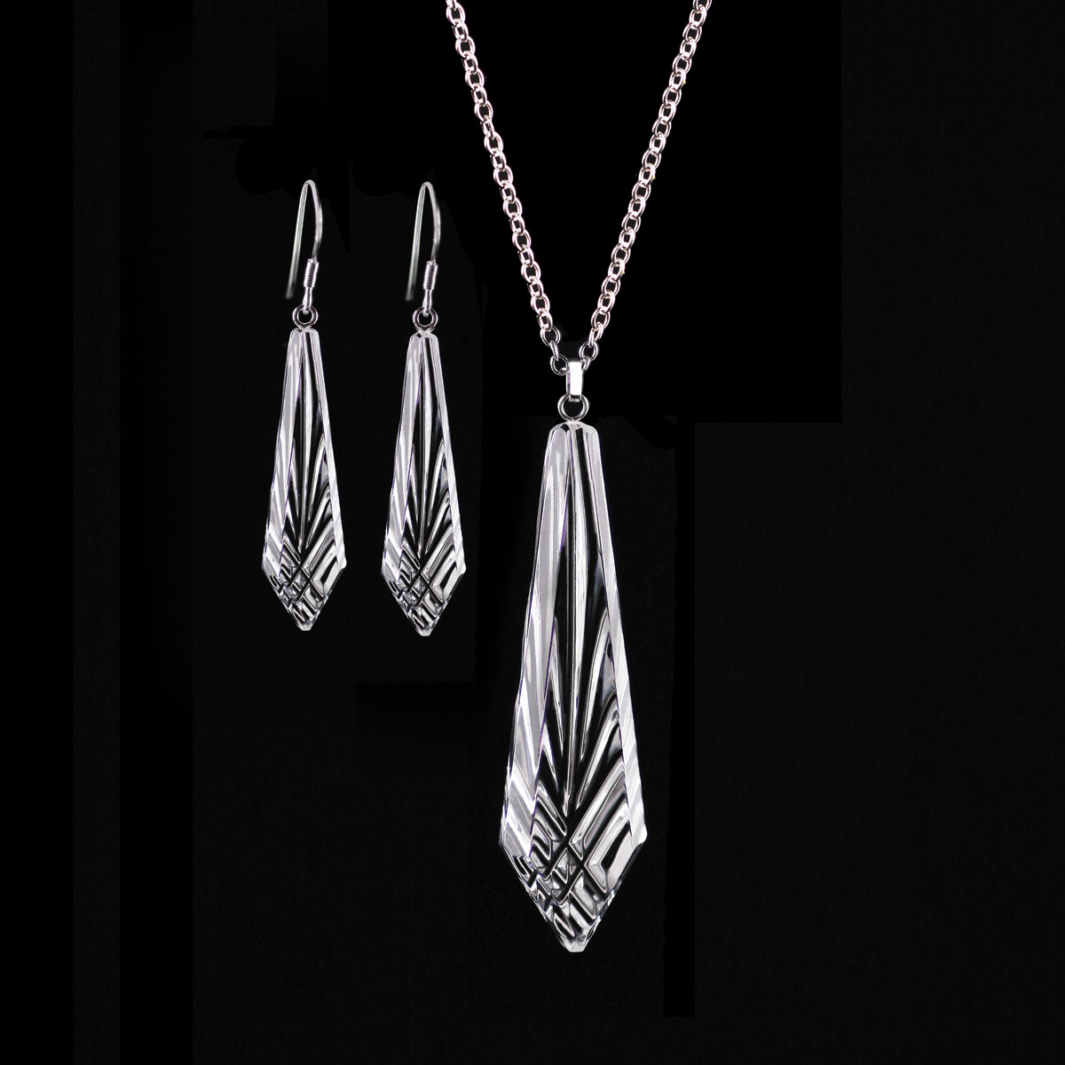 Cashs Ireland, Crystal Annestown Icicle Sterling Necklace and Earrings Gift Set
