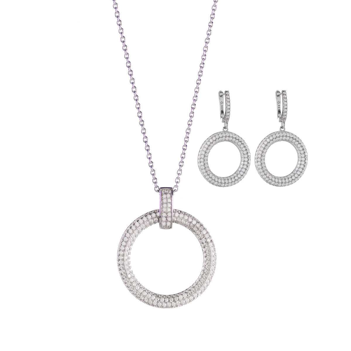 Cashs Ireland, Clarice Sterling Silver Pave Circle Necklace and Earrings Gift Set
