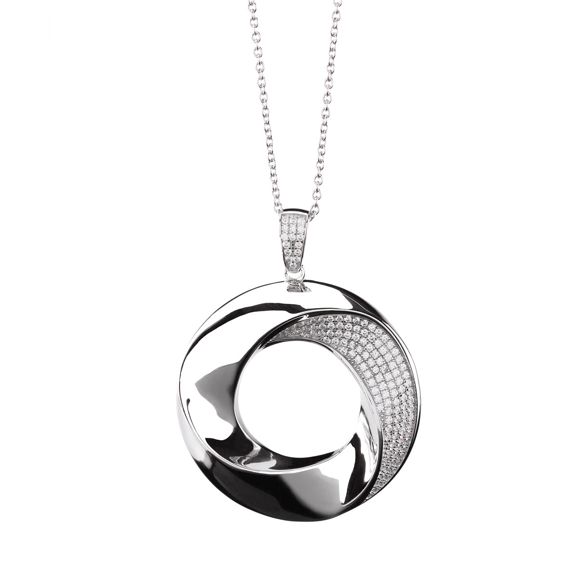 Cashs Ireland Bond Silver Pendant Circle Necklace, Large