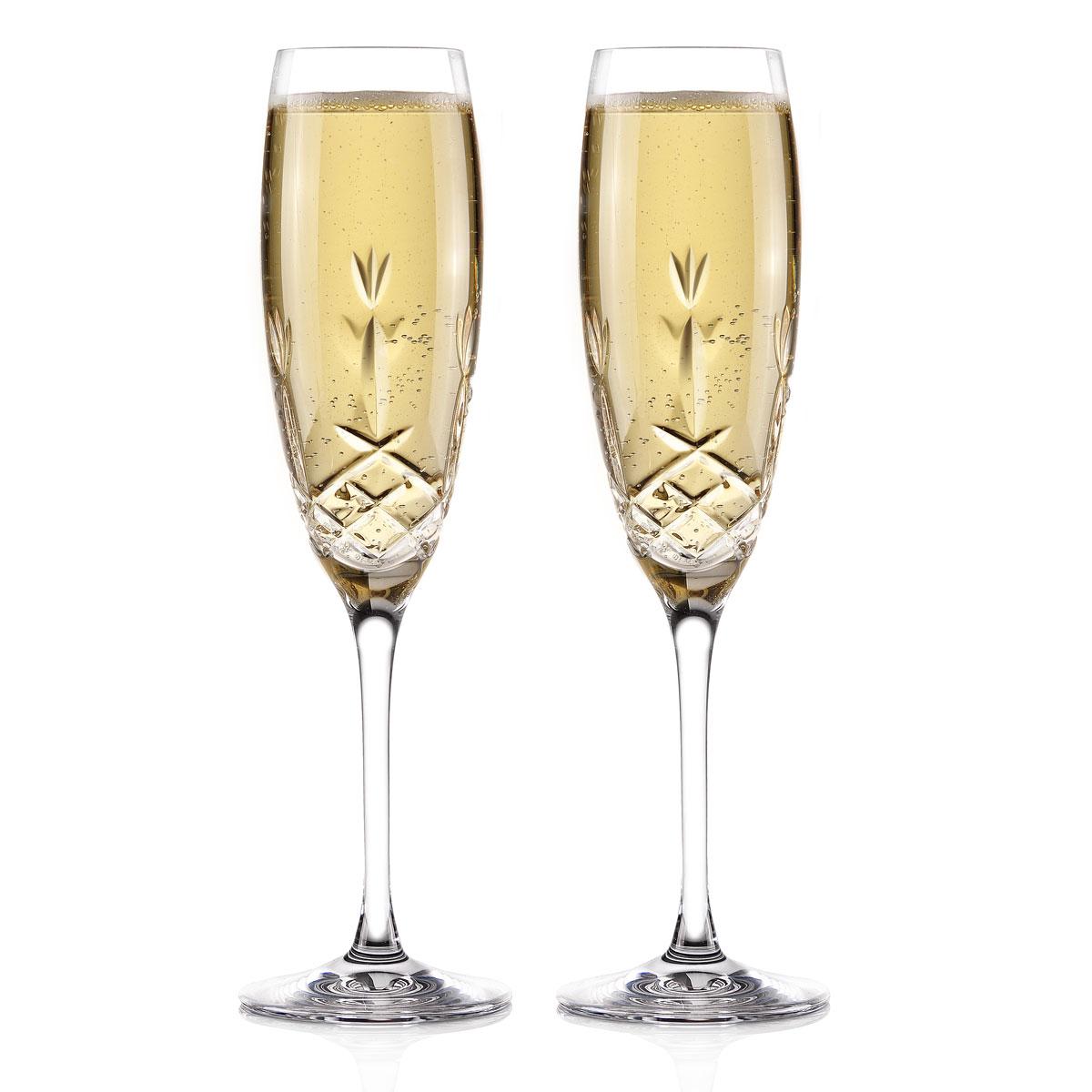 Cashs Ireland Hawthorne Fairy Champagne Toasting Flutes, Pair