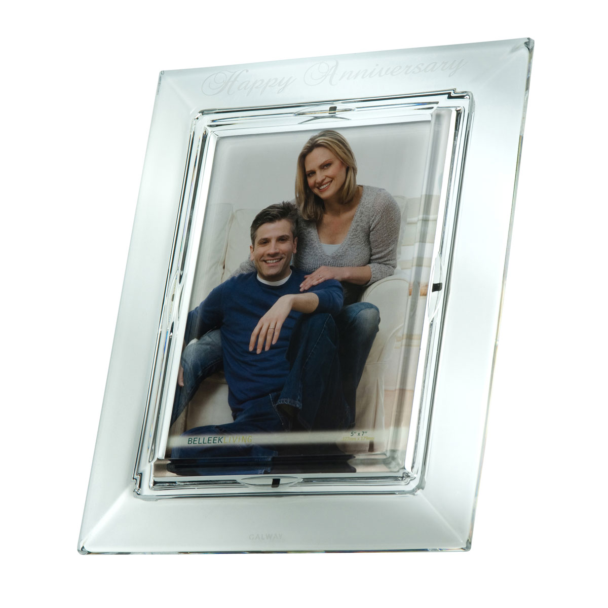 """Galway Crystal Happy Anniversary 5x7"""" Frame"""