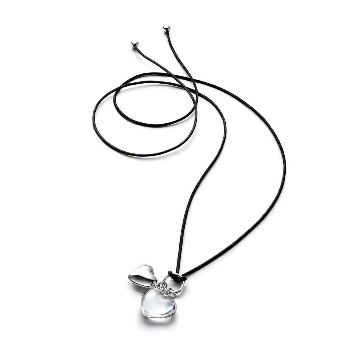 Baccarat Crystal Romance Pendant Necklace Silver And Clear Crystal