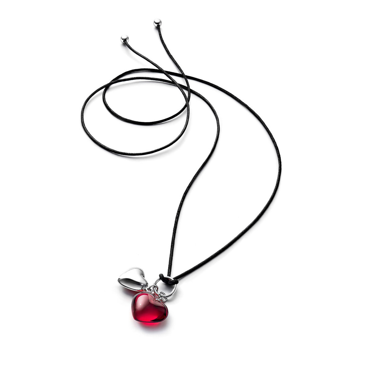 Baccarat Crystal Romance Pendant Necklace Silver And Red Crystal