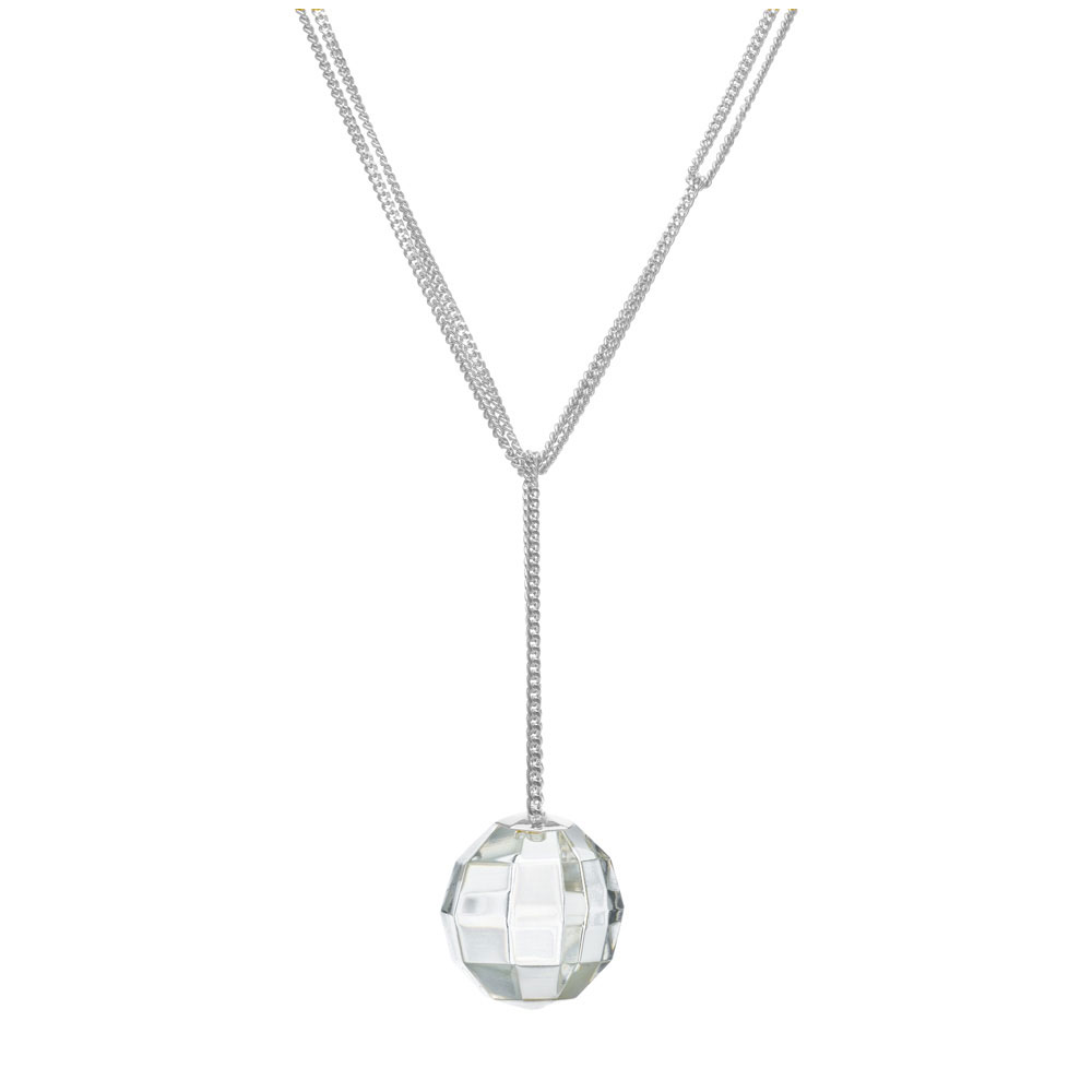 Baccarat Crystal Facettes Short Necklace, Clear Sterling Silver
