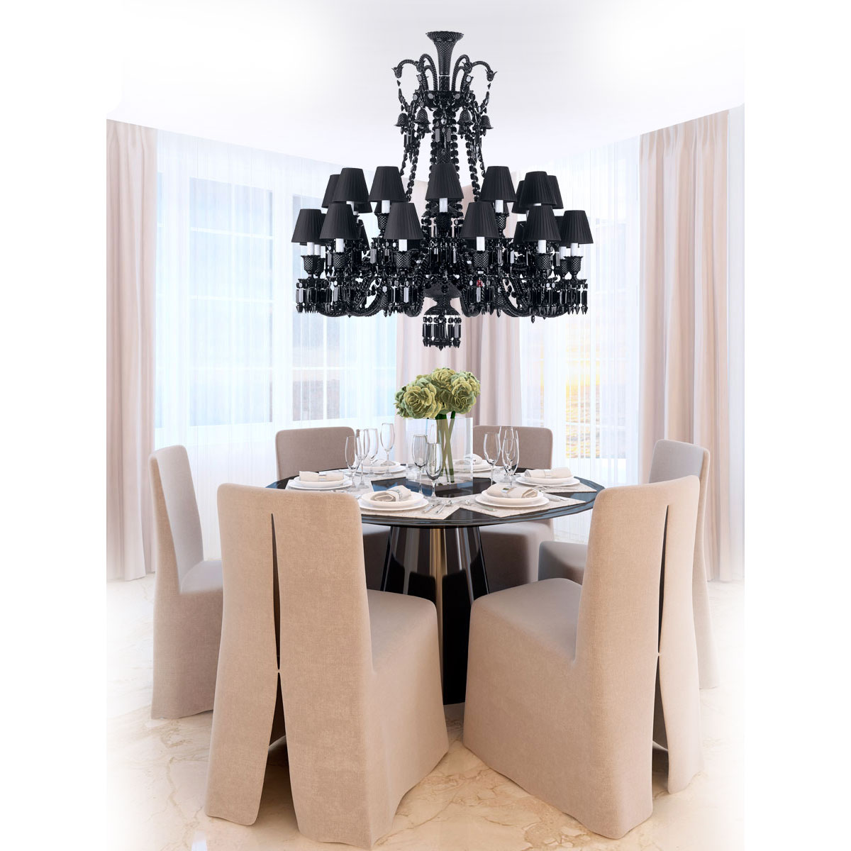 Baccarat Crystal, Zenith Black 24 Light Crystal Chandelier