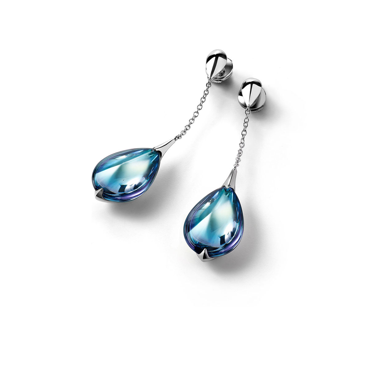 Baccarat Crystal Fleur De Psydelic Aqua Blue Mirror Silver Earrings