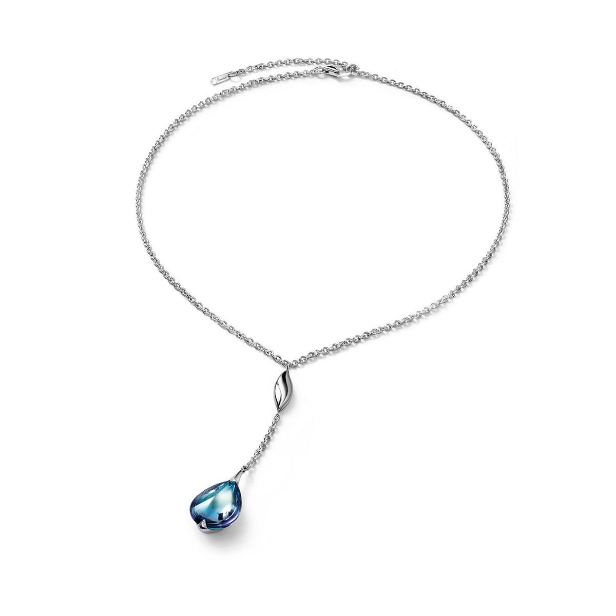 Baccarat Crystal Fleur De Psydelic Aqua Blue Mirror Silver Pendant Necklace