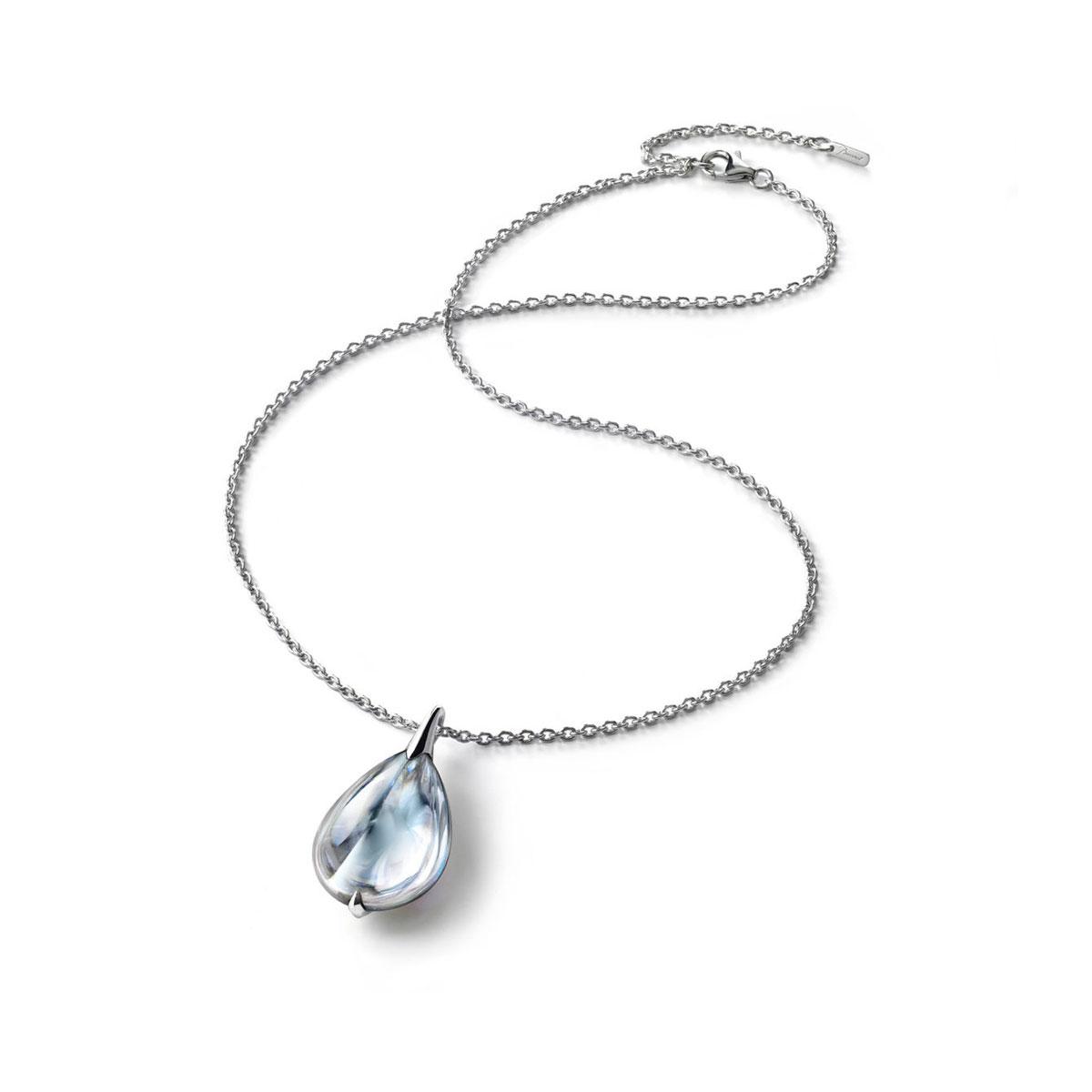 Baccarat Crystal Fleur De Psydelic Clear Mirror Silver Large Pendant Necklace