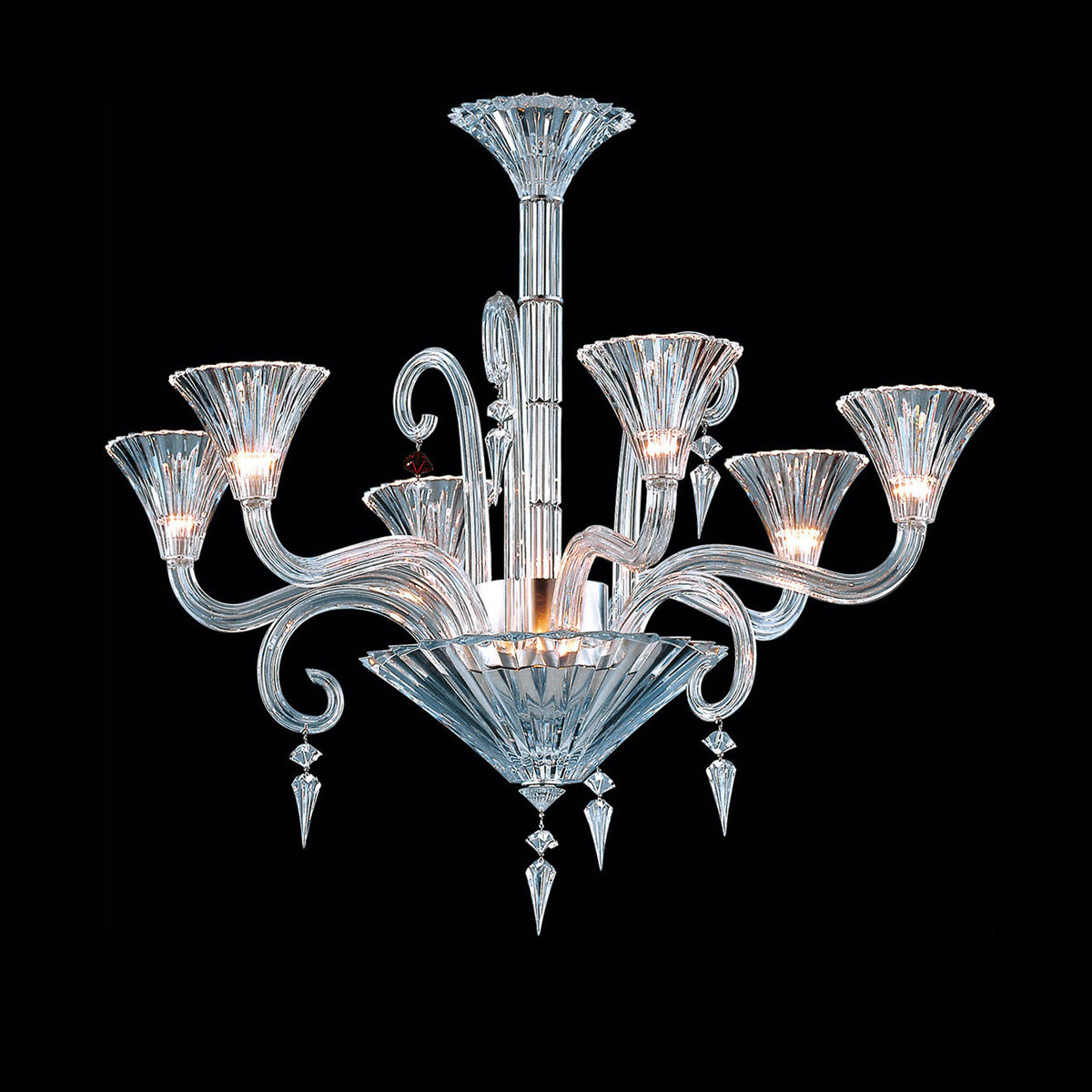 Baccarat Crystal, Mille Nuits 6 Light Chandelier, With Lighted Bowl For Hurricane