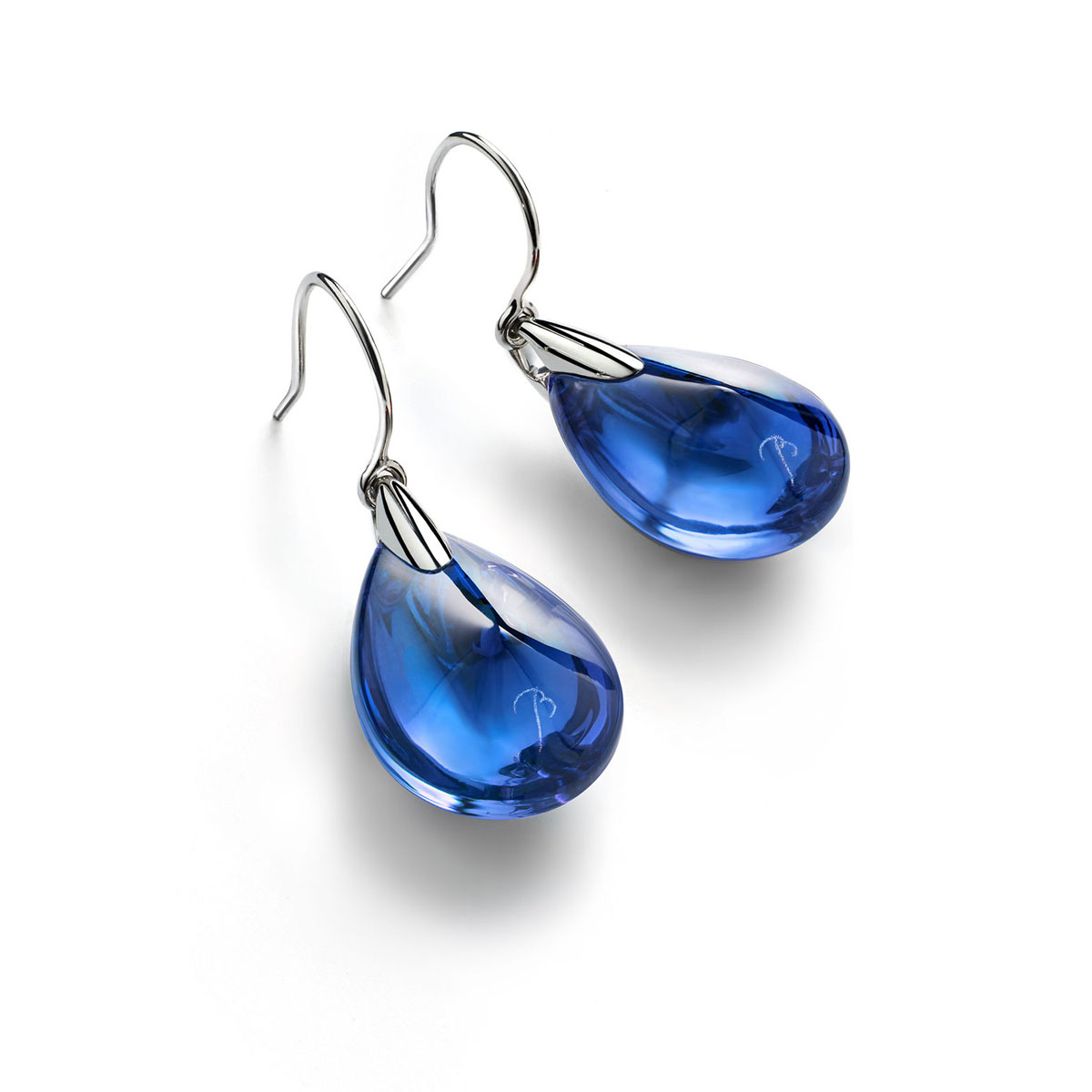 Baccarat Crystal Psydelic Wire Earrings Sterling Silver Blue Riviera