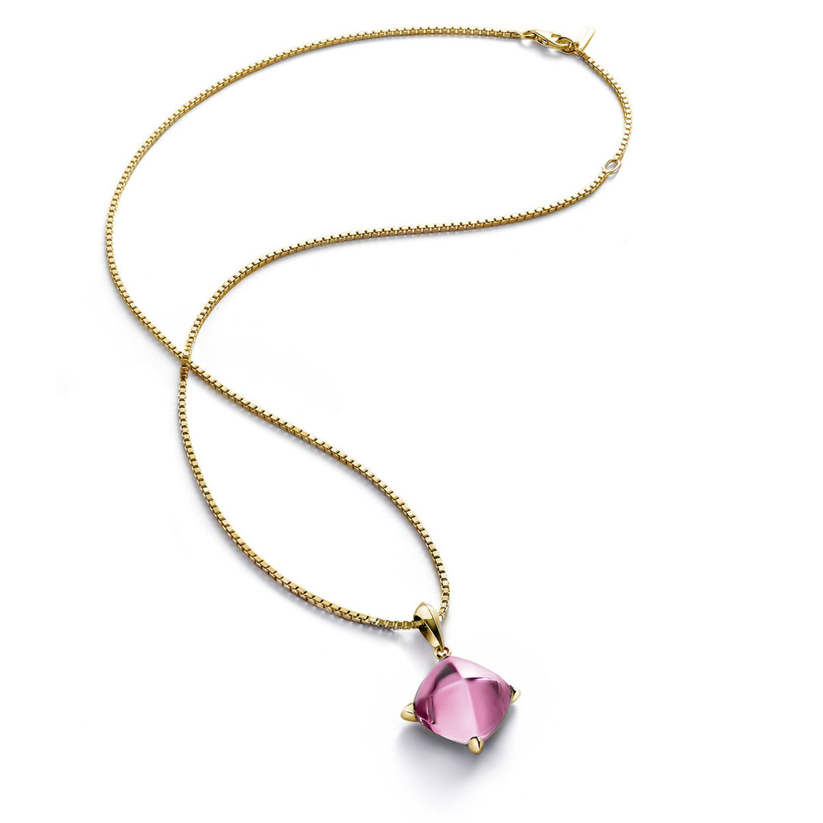 Baccarat Crystal Medicis Necklace Vermeil Gold Pink