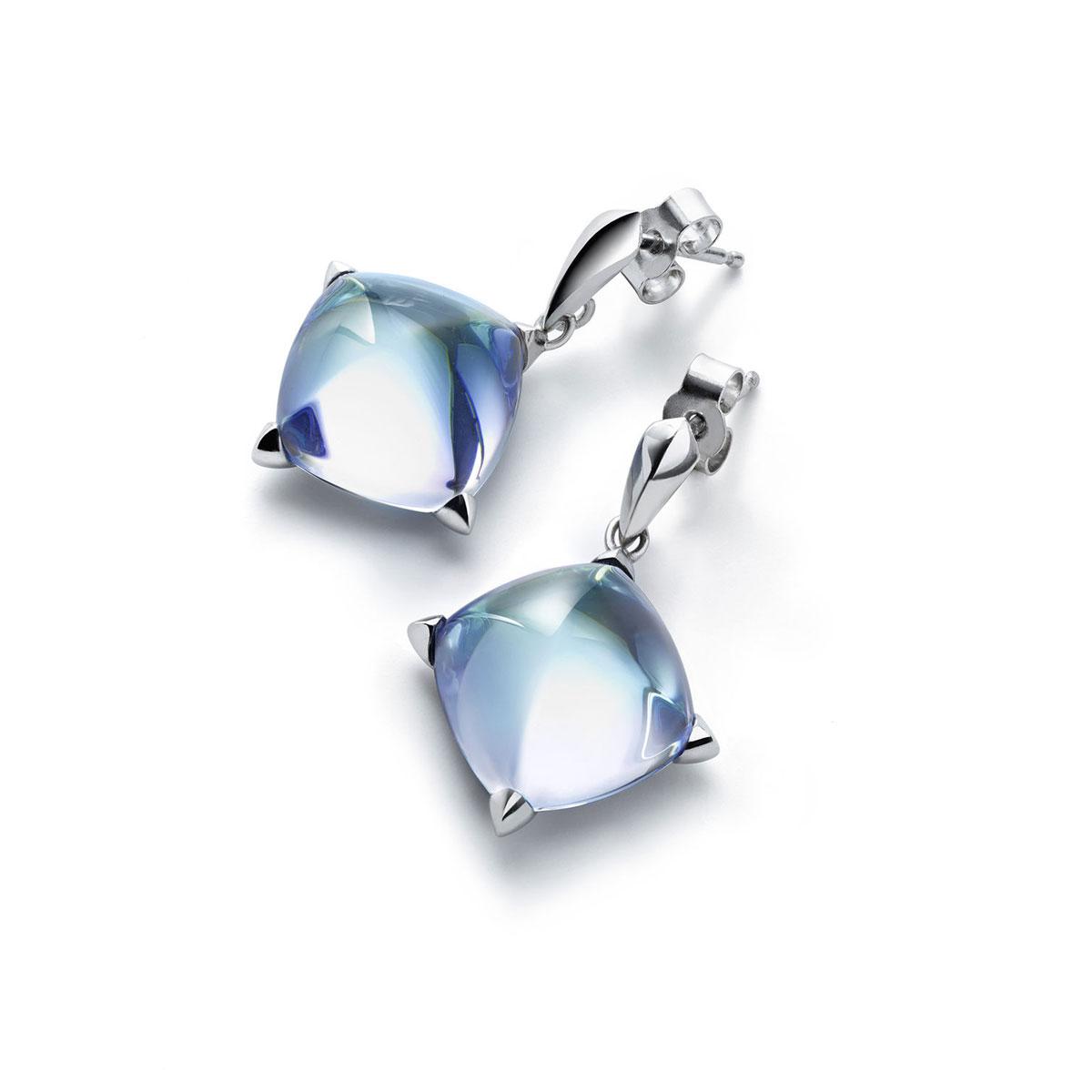 Baccarat Crystal Medicis Stem Earrings Sterling Silver Aqua
