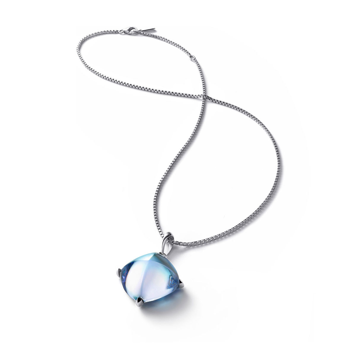 Baccarat Crystal Medicis Large Necklace Sterling Silver Aqua Mirror