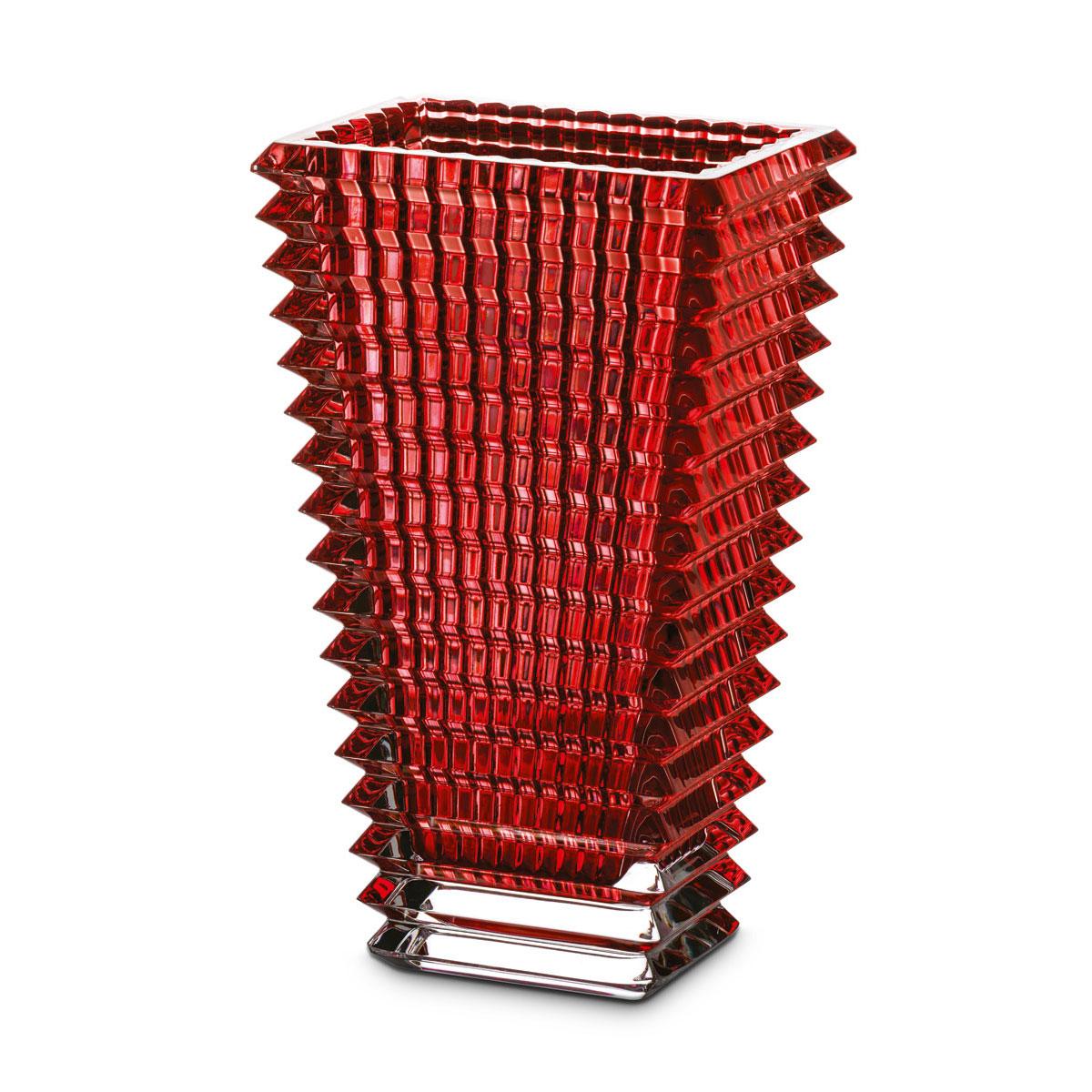 """Baccarat Crystal, Eye Rectangular 8"""" Vase, Red"""