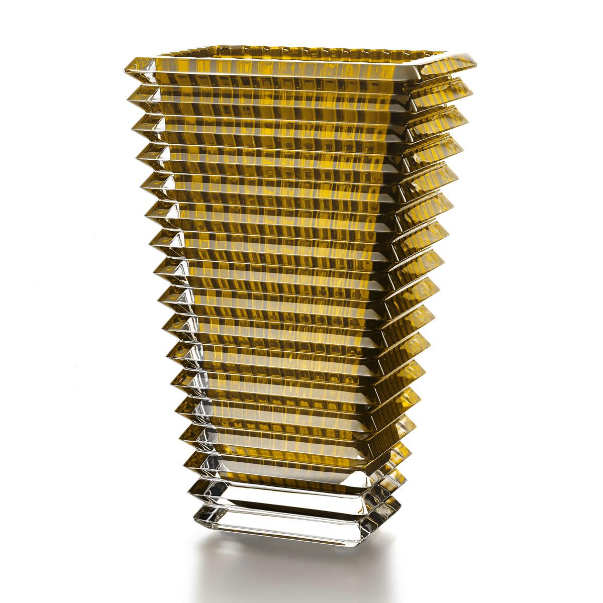 """Baccarat Crystal, Eye 11 3/4"""" Rectangular Vase, Yellow"""