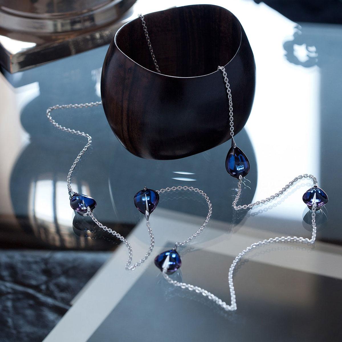 Baccarat Crystal Fleur De Psydelic Blue Scarabee Silver Long Necklace