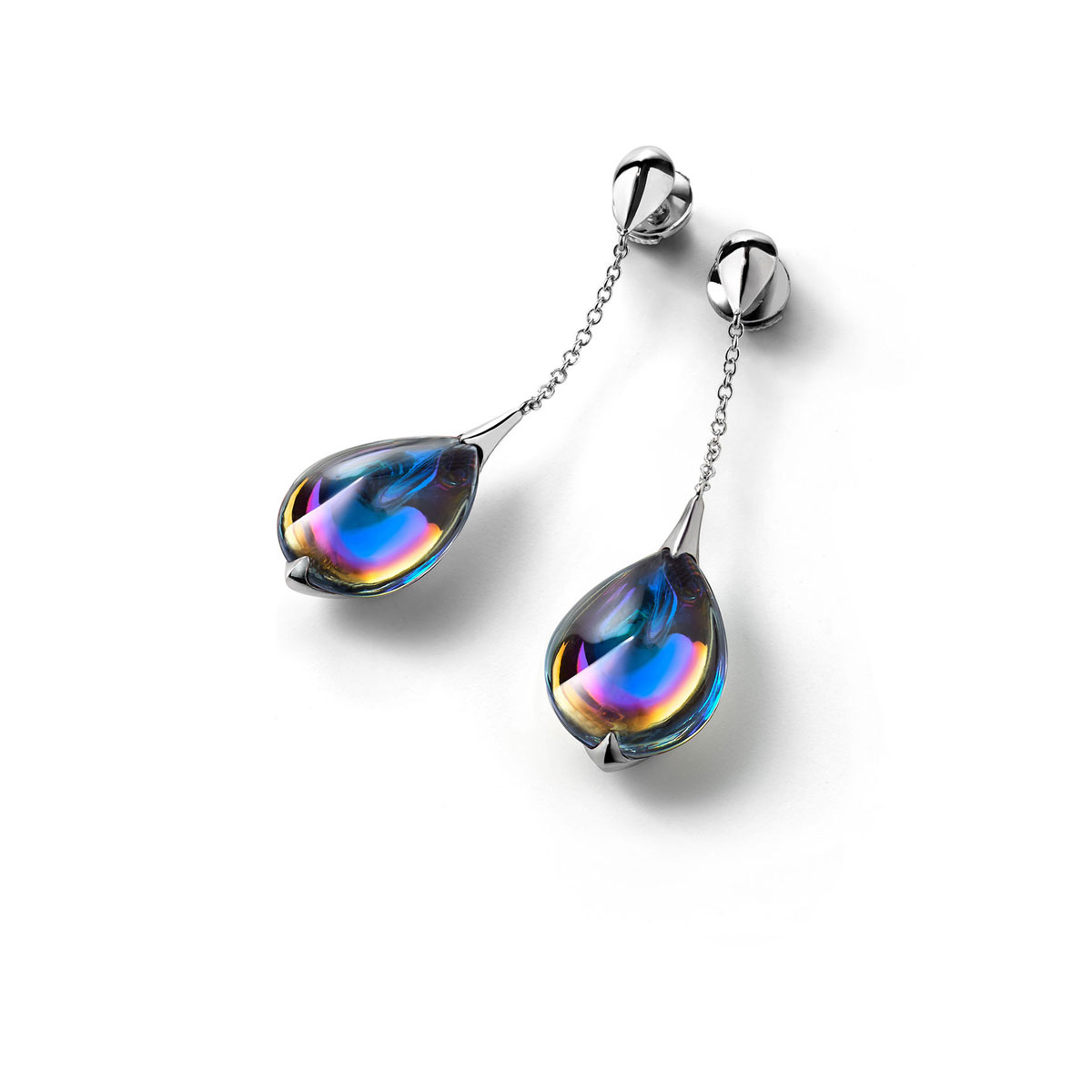 Baccarat Crystal Fleur De Psydelic Blue Scarabee Silver Earrings