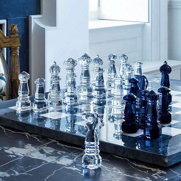 Baccarat Crystal, Jeu Chess Set, Clear and Midnight Limited Edition