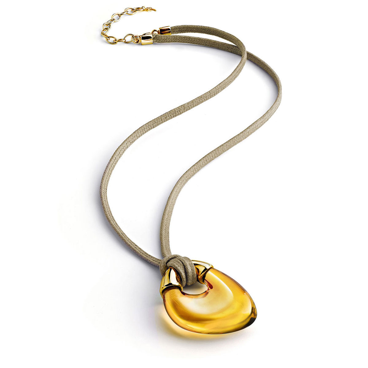 Baccarat Crystal Galea Pendant Necklace Vermeil Gold Honey
