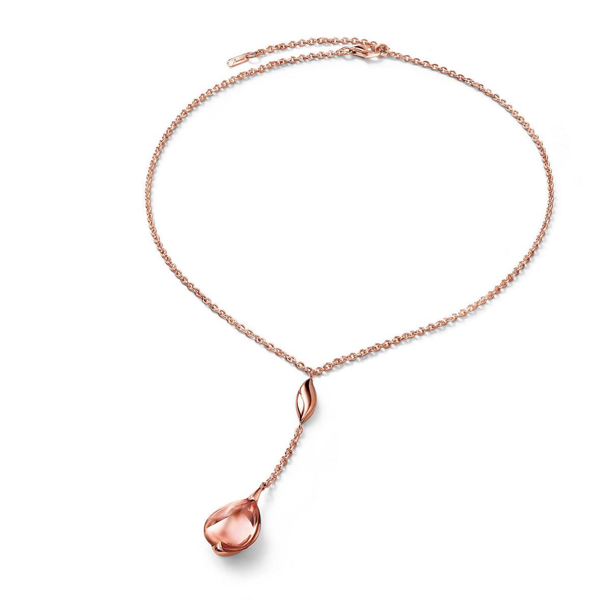 Baccarat Crystal Fleur De Psydelic Rose Gold Vermeil Light Pink Pendant Necklace